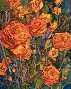 Orange wildflowers original oil painting by modern painter Erin Hanson