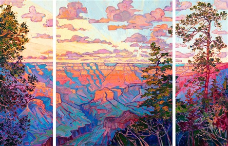 The Grand Canyon large triptych oil painting by modern impressionist Erin Hanson