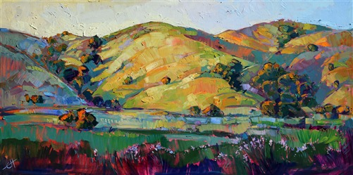 Rolling hills of Paso Robles, painted by contemporary artist Erin Hanson