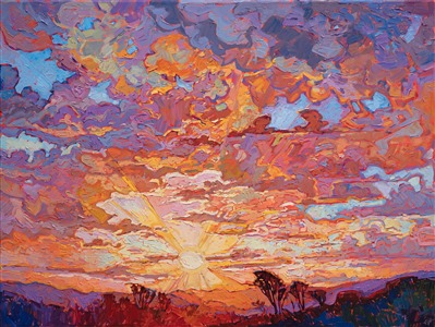 San Diego sunset oil painting by open impressionism painter Erin Hanson.