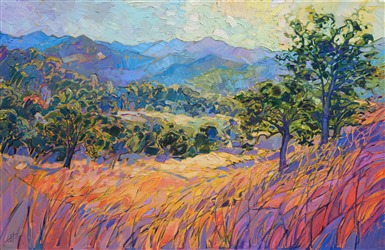 Paso Robles colorful landscape oil painting in a contemporary impressioninsm style.