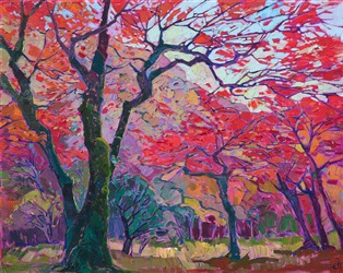 Oil painting of Arashiayama Japanese maple trees in autumn impressionistically painted by artist Erin Hanson