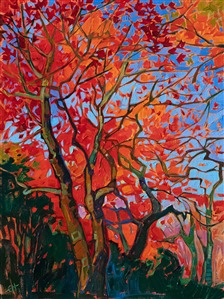 Maple tree oil painting of Kyoto, Japan, by Erin Hanson