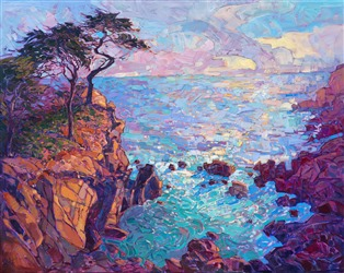 Lone Cypress landscape oil painting captured in vivid color and thick impasto oils, by Erin Hanson.