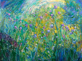 24kt gold leaf oil painting done in a modern impressionist style, by Erin Hanson.