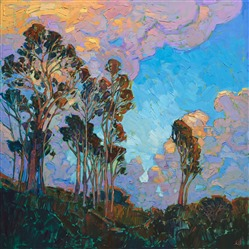 San Diego eucalyptus and clouds oil painting by local artist Erin Hanson.