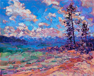Lake Tahoe landscape oil painting in a contemporary impressionist style, by Erin Hanson.