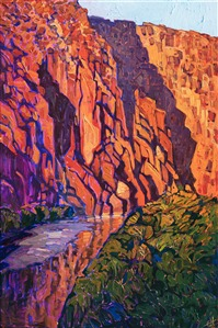Big Bend National Park painting by modern impressionist Erin Hanson, exhibited in the Museum of the Big Bend, Alpine TX.
