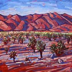 Joshua Tree Park painted in pinks an greens, by California impressionist Erin Hanson