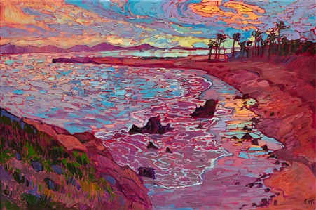 Newport Beach oil painting of Laguna, by contemporary artist Erin Hanson