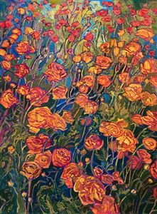 Carlsbad ranunculus flower fields original oil painting for sale by San Diego artist Erin Hanson