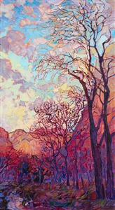 Zion National Park in the winter, painted in a loose impressionistic style, by Erin Hanson.