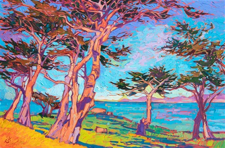 Monterey California coastal oil painting of cypress trees, by modern impressionist Erin Hanson.