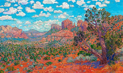 Sedona Vista original oil painting in a contemporary impressionism style by Erin Hanson
