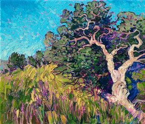 Apline Texas landscape oil painting of twisted oak trees, by Erin Hanson, exhibited at The Museum of the Big Bend.