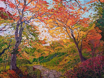 Japanese maple tree oil paintng by modern impressionist Erin Hanson