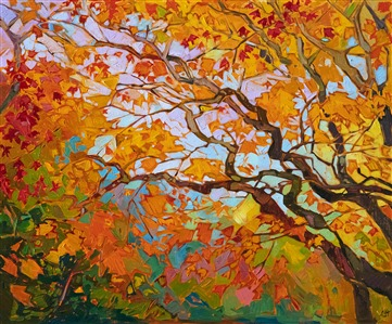 Japanese maple tree autumn colors oil painting by Erin Hanson