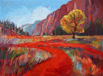 Zion National Park vivid American impressionism painting of abstracted landscape shapes, by Erin Hanson
