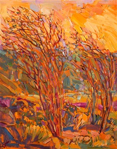 California desert ocotillos impressionist oil painting landscape for sale.