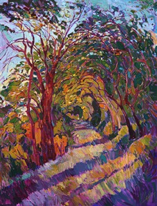 "Path in the Oaks, original oil painting in the ""Path Series"" by Erin Hanson"