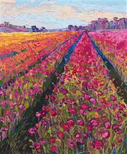 The Flower Fields at Carlsbad, San Diego colorful floral painting by impressionist artist Erin Hanson.
