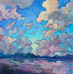 Modern expressionism landscape dramatic clouds oil painting by Erin Hanson