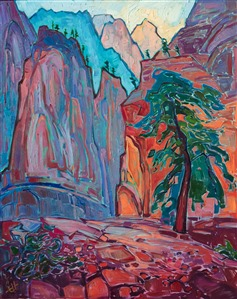 Zion National Park original oil painting of Angel's Landing, by modern impressionist Erin Hanson