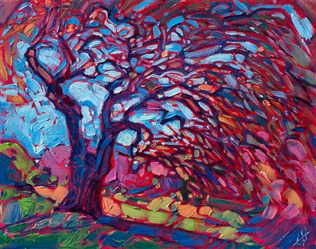 Petite painting of a California oak tree, by contemporary impresisonist Erin Hanson.