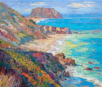 Highway 1 coastal oil painting by contemporary impressionism painter Erin Hanson