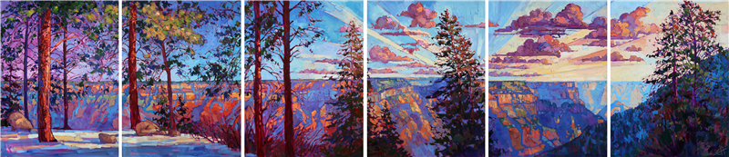 Magnificent panoramic view of the Grand Canyon North Rim in undulating light, as captured by impressionistic artist Erin Hanson