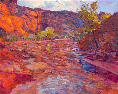 Canyon de Chelly red rock landscape oil painting by modern impressionist Erin Hanson.