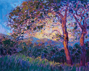 California oaks painted in an early California style by contemporary painter Erin Hanson.