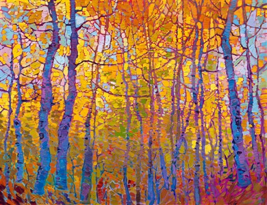 Aspen fall colors original oil painting for sale with a contemporary impressionism expressionist autumn palette.