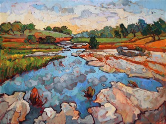Texas hill country painted in juicy brush strokes and vivacious color, by artist Erin Hanson