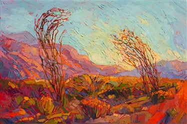 Joshua Tree National Park - ocotillos in bloom original oil painting by Erin Hanson