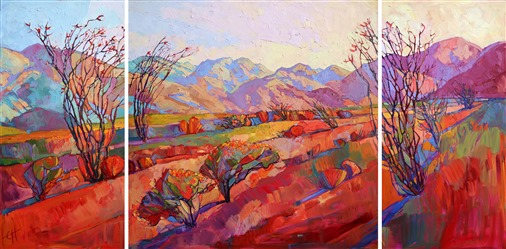 Large desertscape oil painting of Borrego Springs, by expressionism painter Erin Hanson