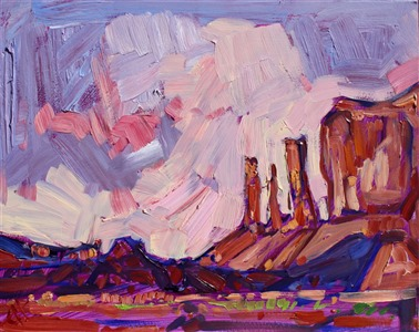 Autumn tones of Arches National Park are captured in thick oil paint by artist Erin Hanson.