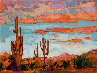 Small Arizona Western landscape oil painting of Saguaros, by contemporary impressionist Erin Hanson.