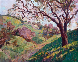 Spanish Moss, original oil painting of California wine country, by Erin Hanson