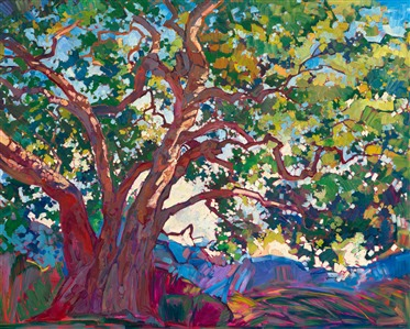 Expressionism modern landscape oil painting printed in fully textured 3D print, by contemporary impressionist Erin Hanson.