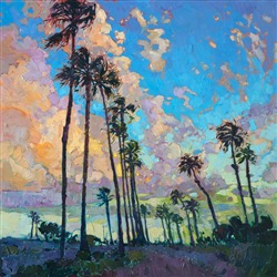 San Diego harbor palm trees oil painting for sale by contemporary impressionist Erin Hanson