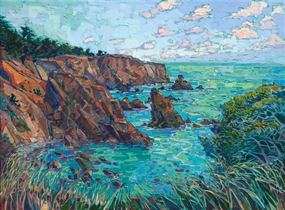 California impressionism modern seascape painting of Mendocino, CA.