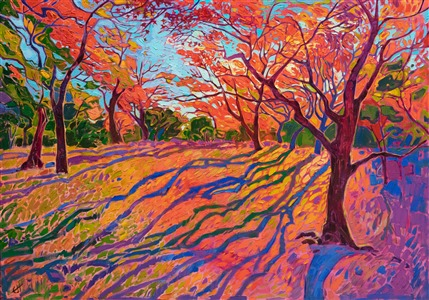 Japanese maple painting in a contemporary impressionist style, by modern master Erin Hanson