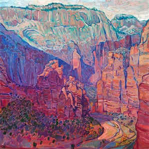 Zion National Park original oil painting by Western impressionism painter Erin Hanson