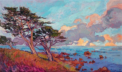 Monterey coastal skyline original oil painting by contemporary impressionist Erin Hanson