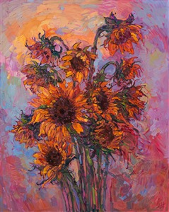 Sunflowers oil painting by modern expressionism painter Erin Hanson.