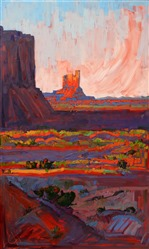 Intense colored oil painting by desert explorer and oil painter Erin Hanson