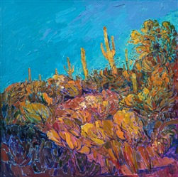 Modern contemporary Arizona desert landscape saguaro painting by Erin Hanson
