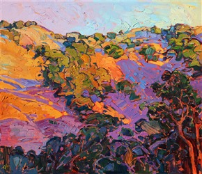 Impressionistic painting of Napa Valley wine country by contemporary artist Erin Hanson