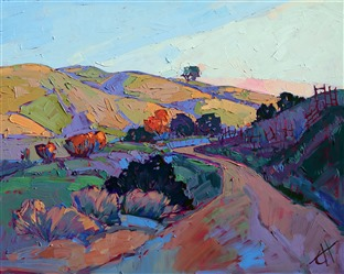 Paso Robles dawn light original oil painting in alla prima, by Erin Hanson